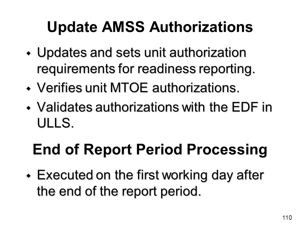 Update AMSS Authorizations