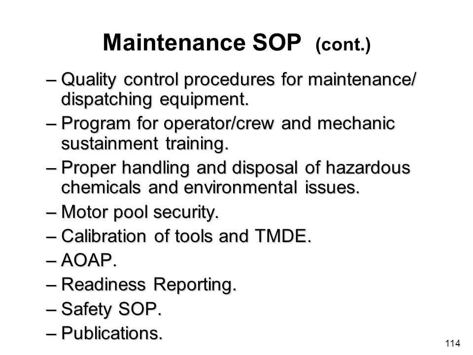 Maintenance SOP (cont.)