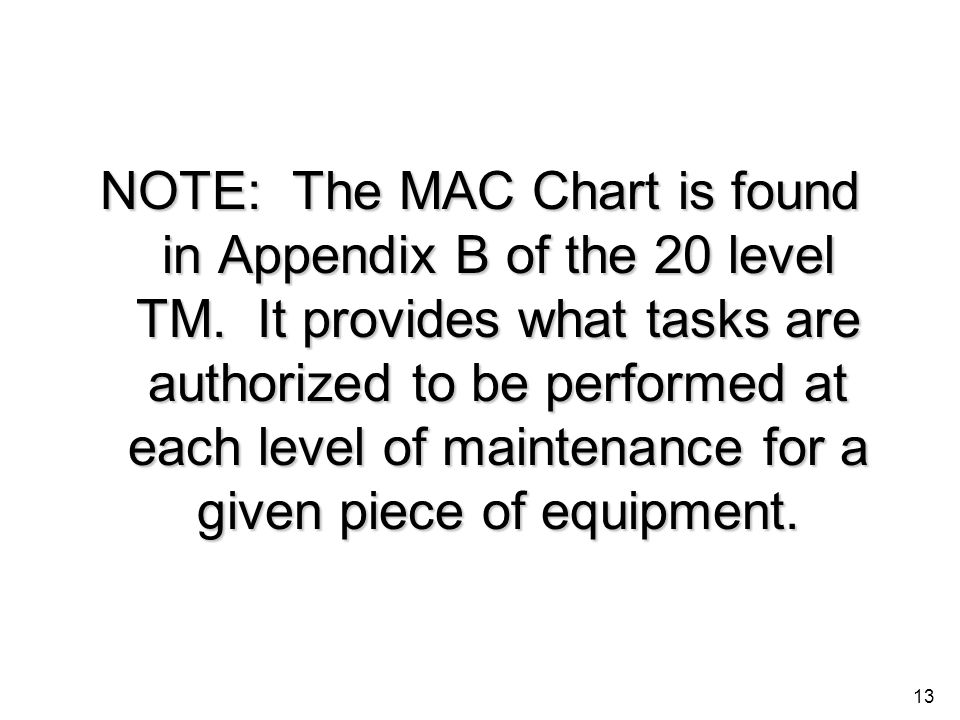 NOTE: The MAC Chart is found in Appendix B of the 20 level TM