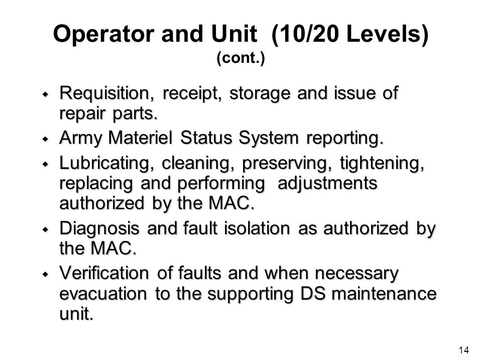 Operator and Unit (10/20 Levels) (cont.)