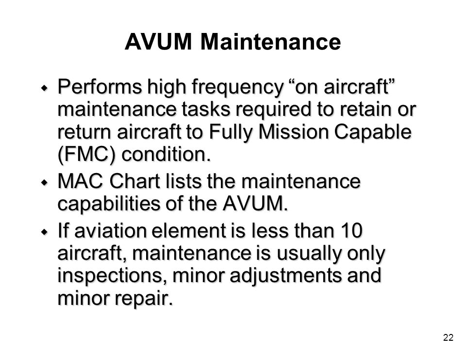 AVUM Maintenance