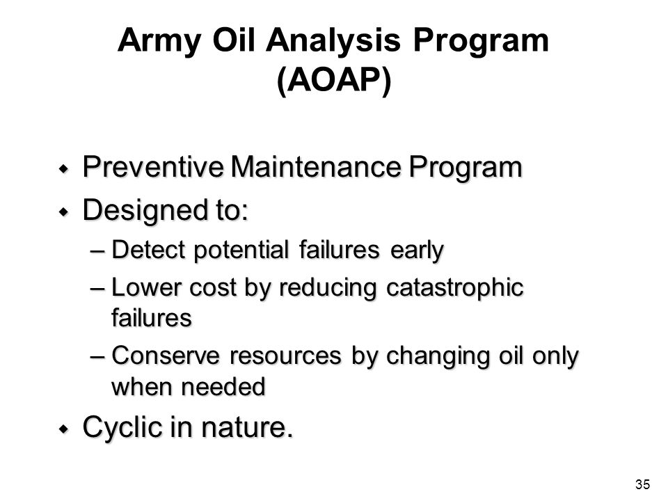 Army Oil Analysis Program (AOAP)
