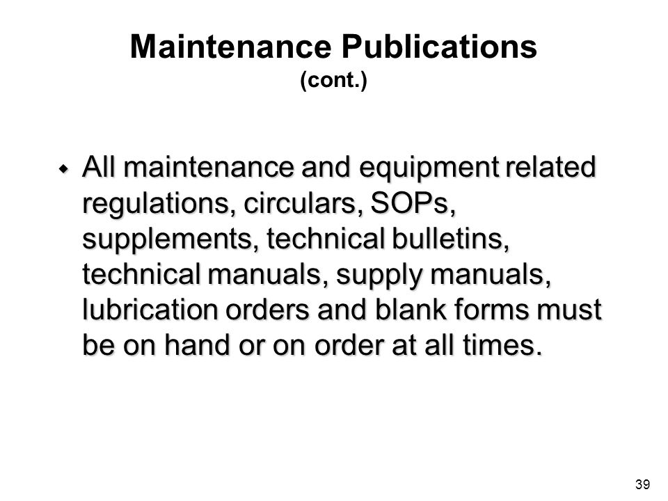 Maintenance Publications (cont.)