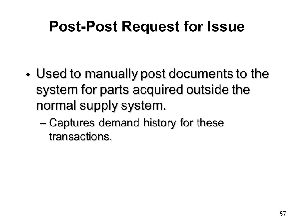 Post-Post Request for Issue