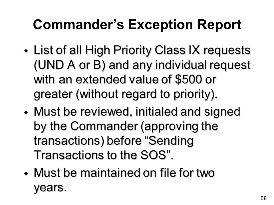 Commander's Exception Report