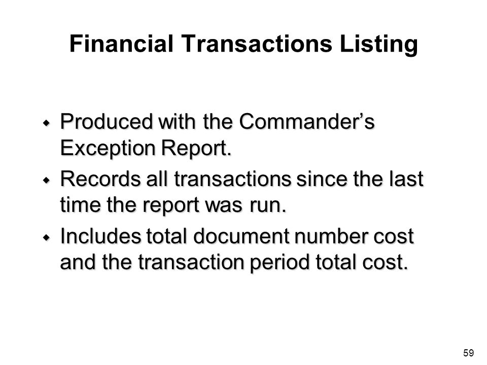 Financial Transactions Listing