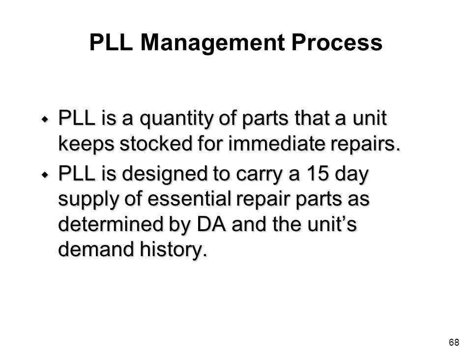 PLL Management Process