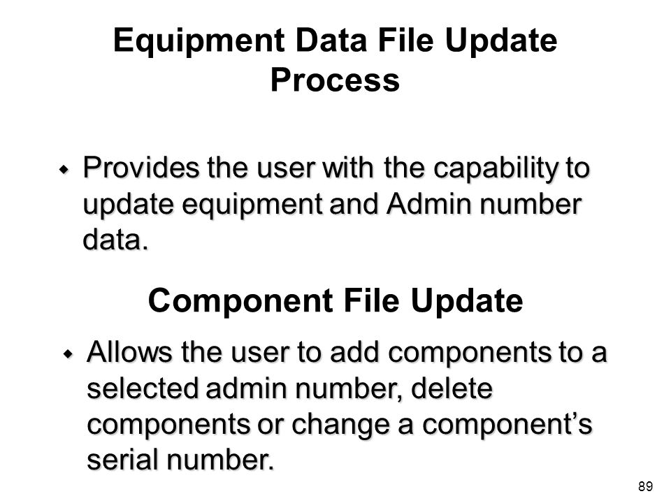 Equipment Data File Update Process