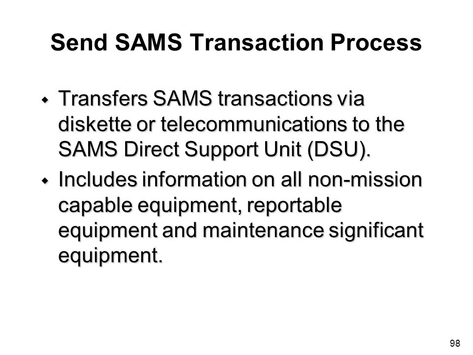 Send SAMS Transaction Process