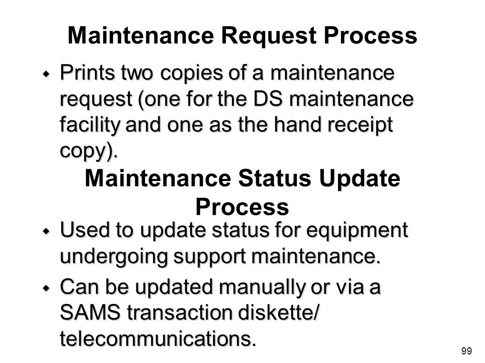 Maintenance Request Process