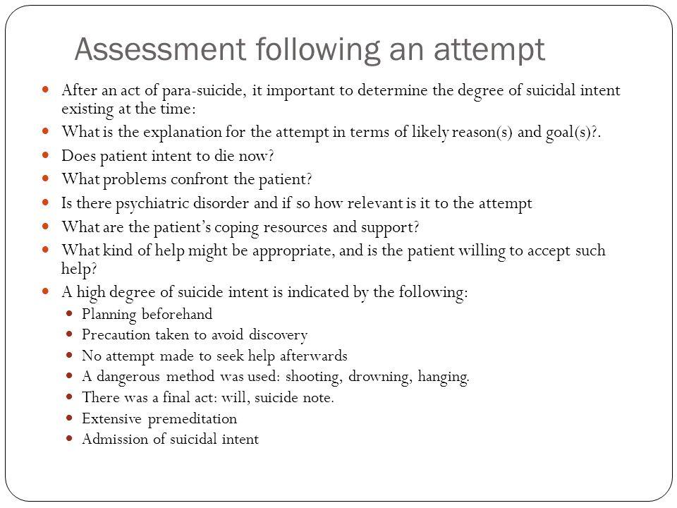 Assessment following an attempt