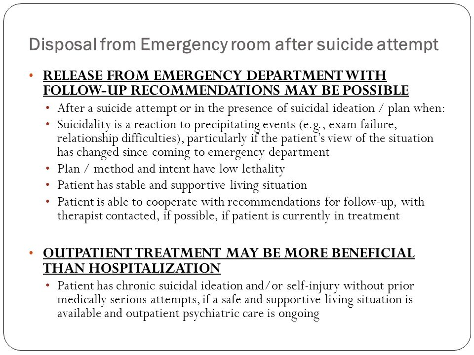 Disposal from Emergency room after suicide attempt