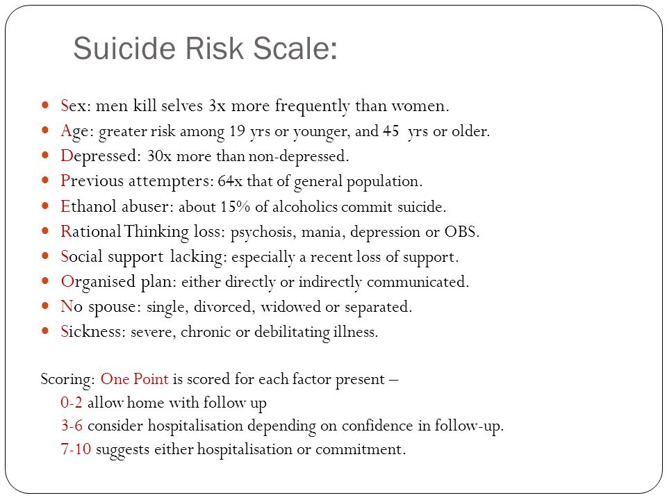 Suicide Risk Scale: Sex: men kill selves 3x more frequently than women. Age: greater risk among 19 yrs or younger, and 45 yrs or older.