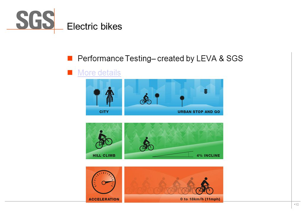 Electric bikes Performance Testing– created by LEVA & SGS More details