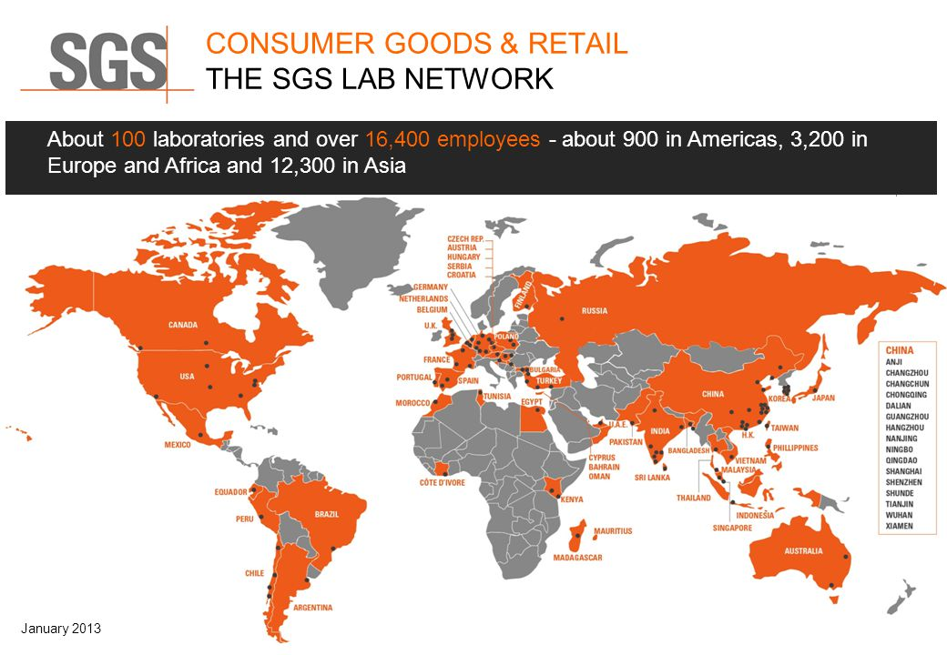 CONSUMER GOODS & RETAIL THE SGS LAB NETWORK