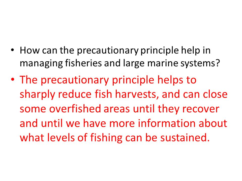How can the precautionary principle help in managing fisheries and large marine systems