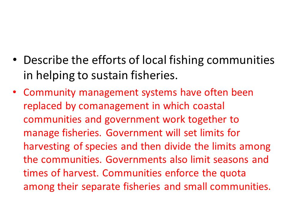Describe the efforts of local fishing communities in helping to sustain fisheries.
