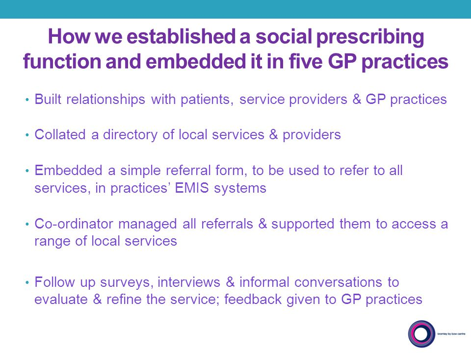 How we established a social prescribing function and embedded it in five GP practices