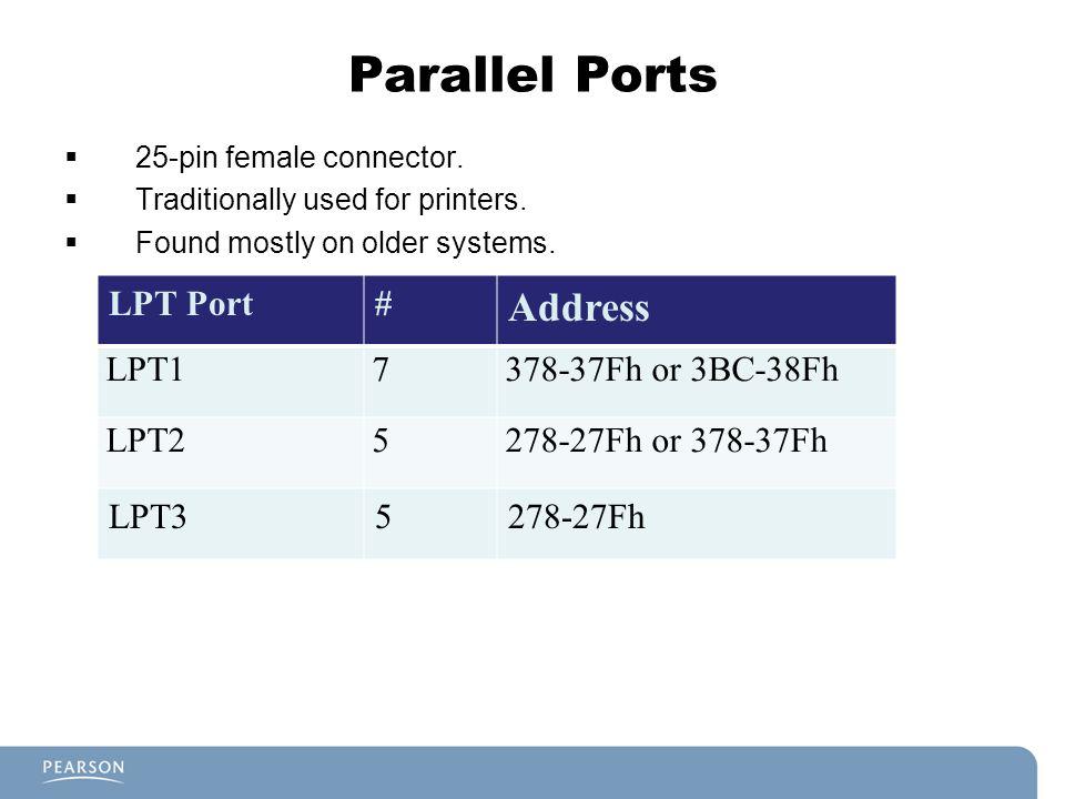 Parallel Ports Address LPT Port # LPT1 7 378-37Fh or 3BC-38Fh LPT2 5