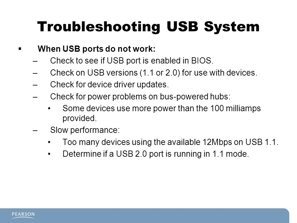 Troubleshooting USB System