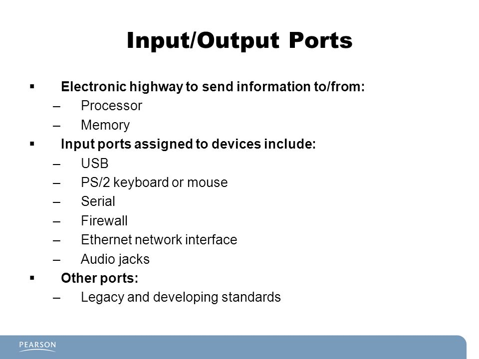Input/Output Ports Electronic highway to send information to/from: