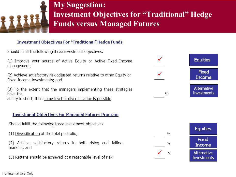My Suggestion: Investment Objectives for Traditional Hedge Funds versus Managed Futures
