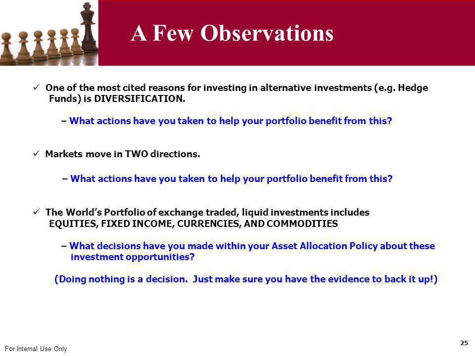 A Few Observations One of the most cited reasons for investing in alternative investments (e.g. Hedge.