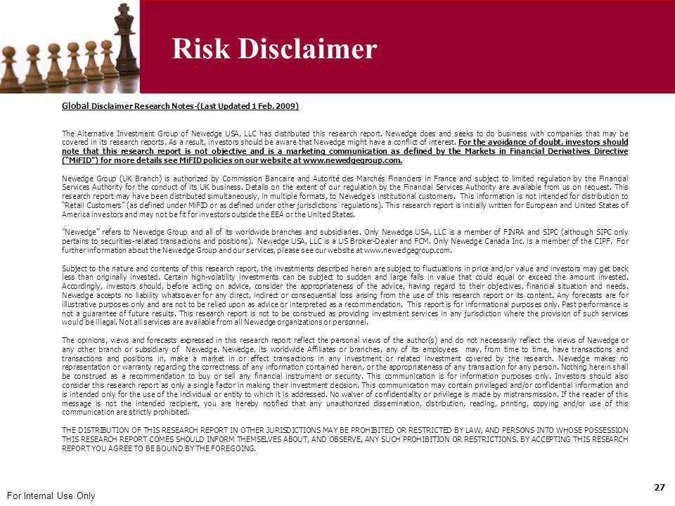 Risk Disclaimer Global Disclaimer Research Notes-(Last Updated 1 Feb. 2009)