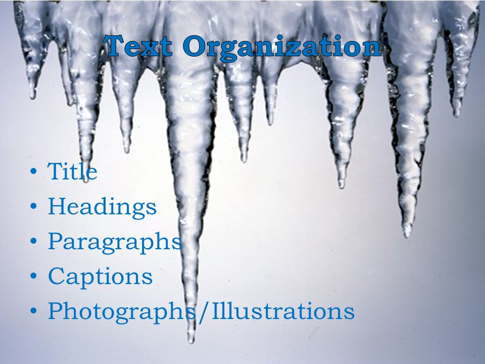 Text Organization Title Headings Paragraphs Captions