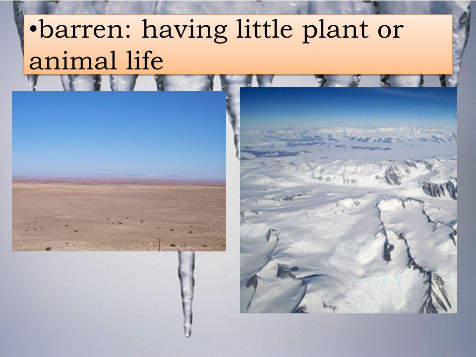 barren: having little plant or animal life