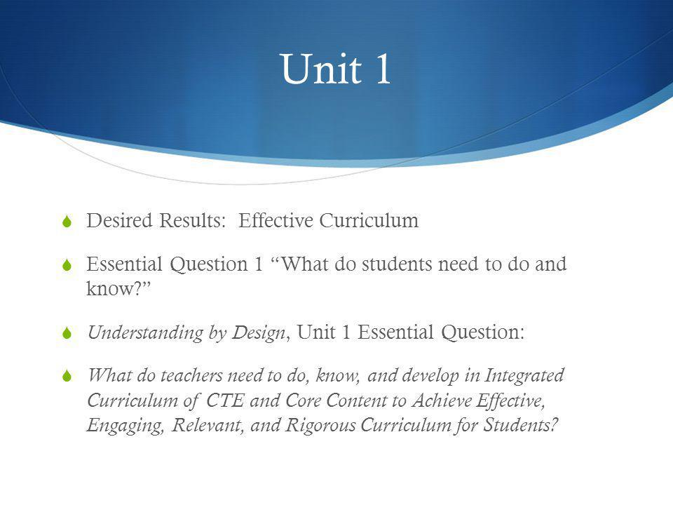 Unit 1 Desired Results: Effective Curriculum
