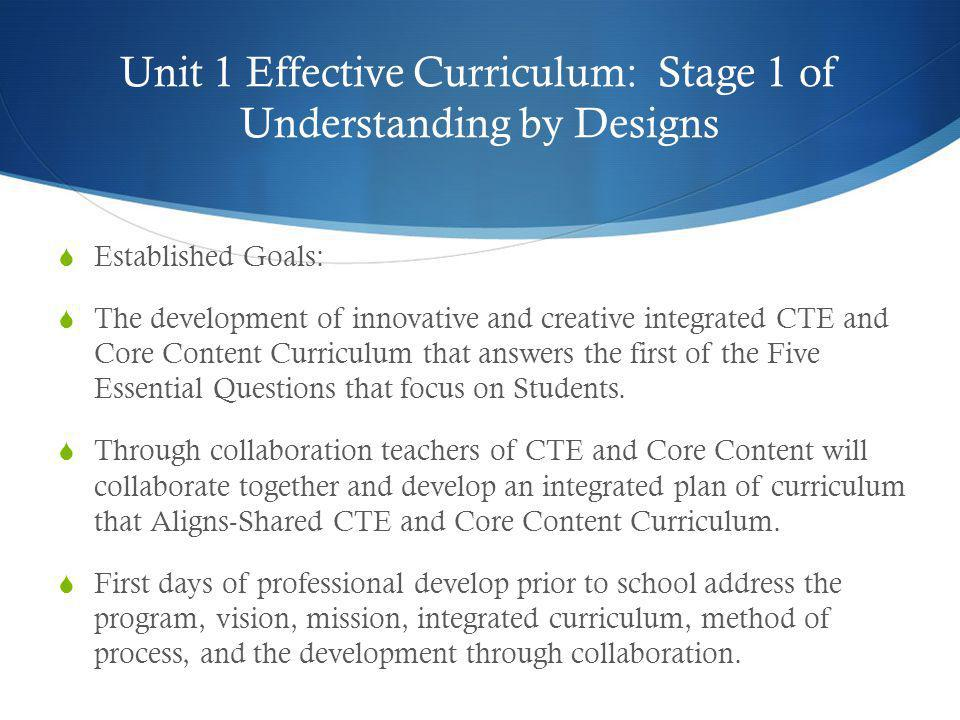 Unit 1 Effective Curriculum: Stage 1 of Understanding by Designs