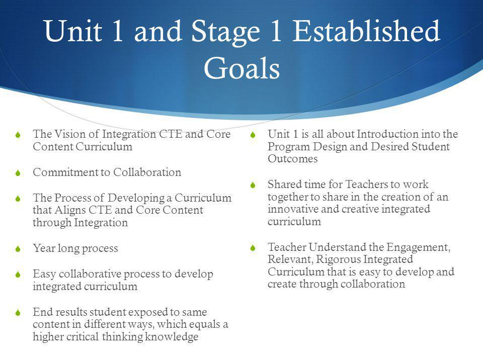 Unit 1 and Stage 1 Established Goals