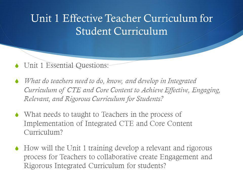 Unit 1 Effective Teacher Curriculum for Student Curriculum