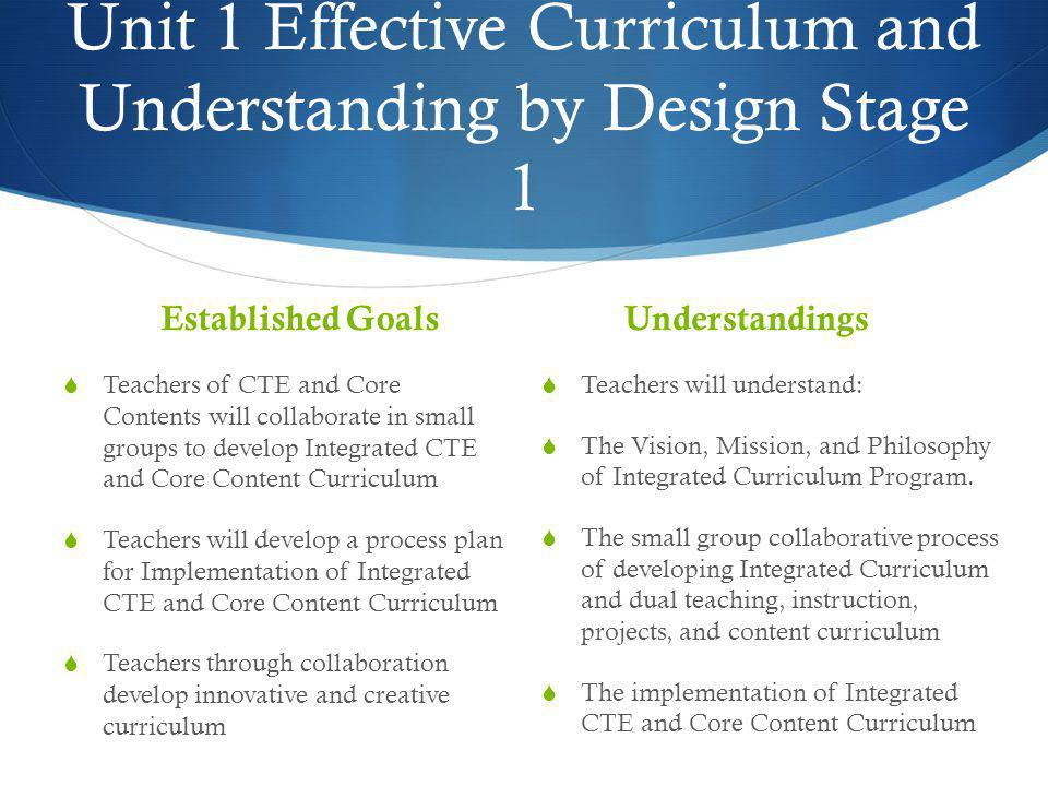 Unit 1 Effective Curriculum and Understanding by Design Stage 1
