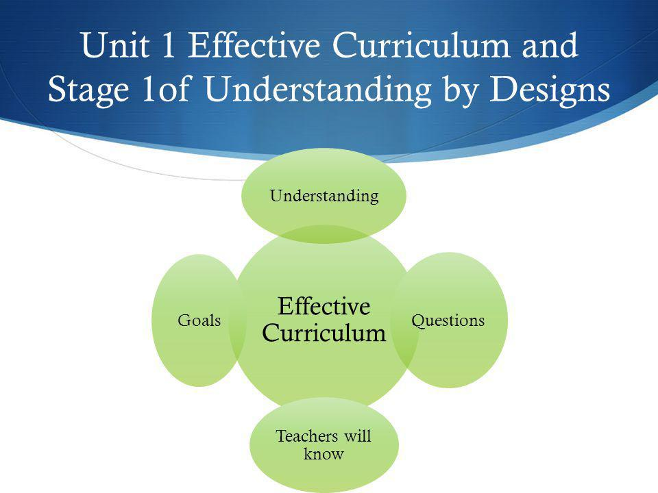 Unit 1 Effective Curriculum and Stage 1of Understanding by Designs