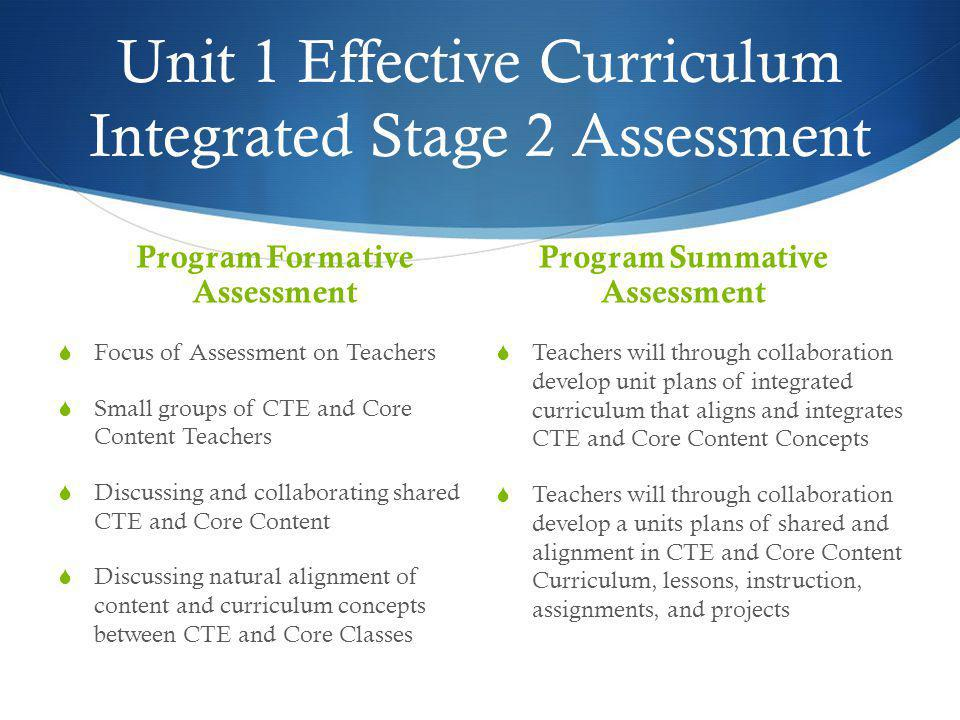 Unit 1 Effective Curriculum Integrated Stage 2 Assessment