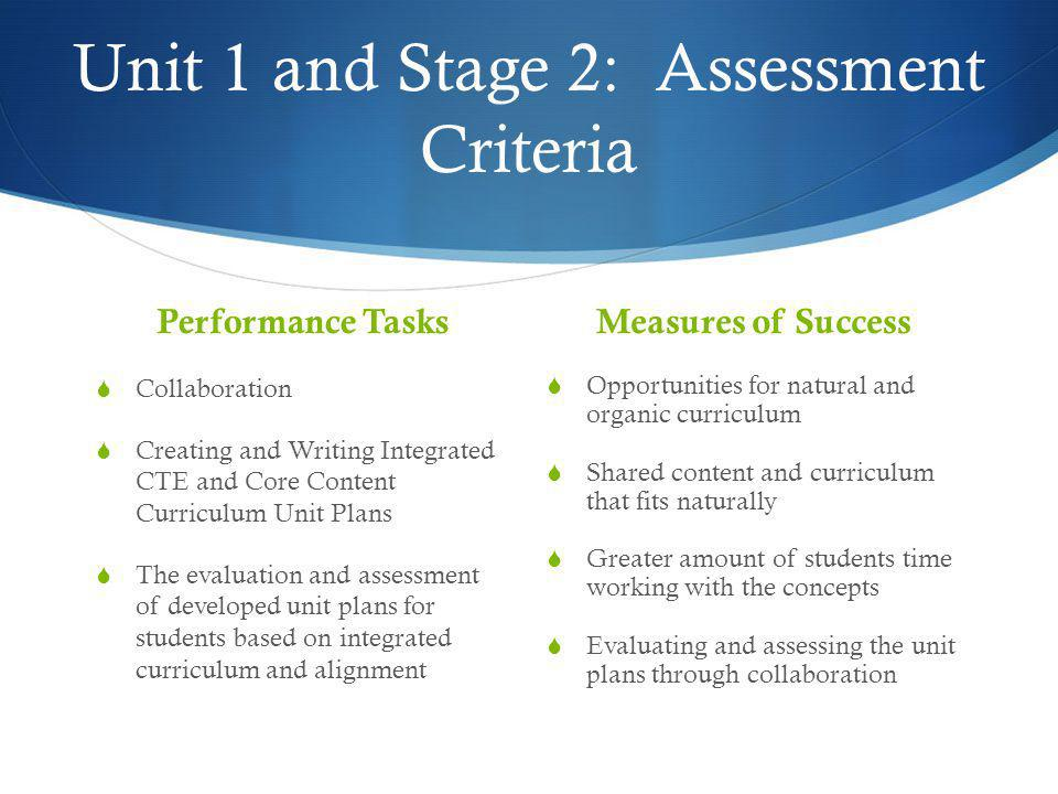 Unit 1 and Stage 2: Assessment Criteria
