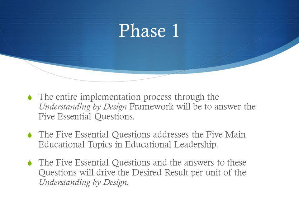 Phase 1 The entire implementation process through the Understanding by Design Framework will be to answer the Five Essential Questions.