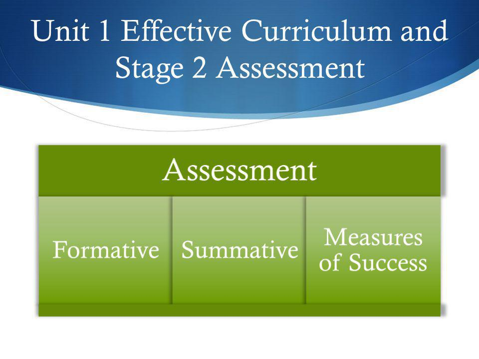 Unit 1 Effective Curriculum and Stage 2 Assessment