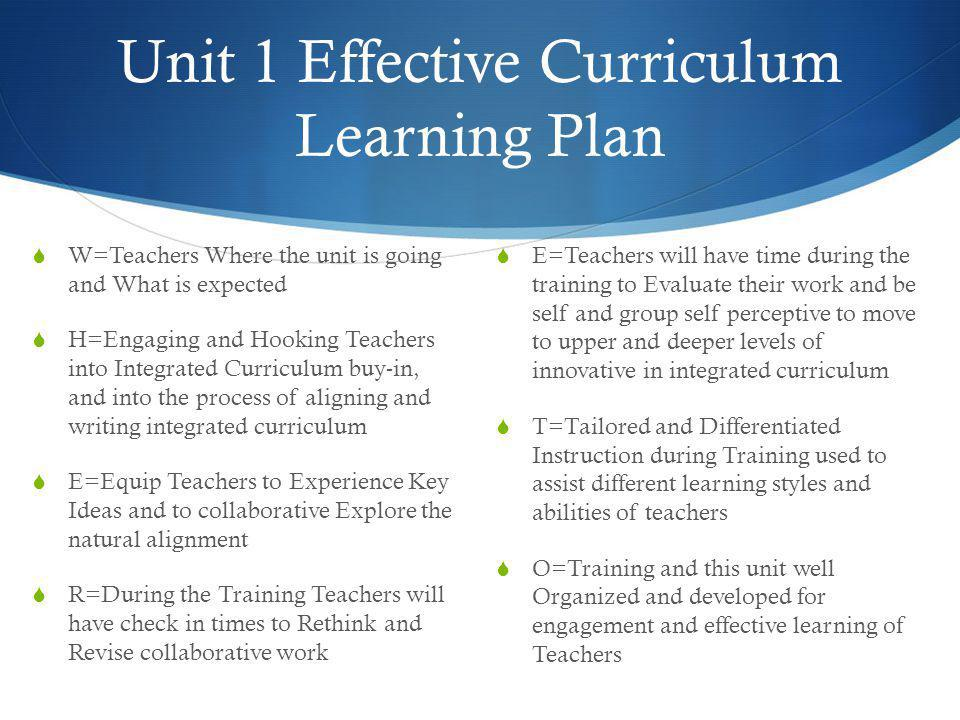 Unit 1 Effective Curriculum Learning Plan