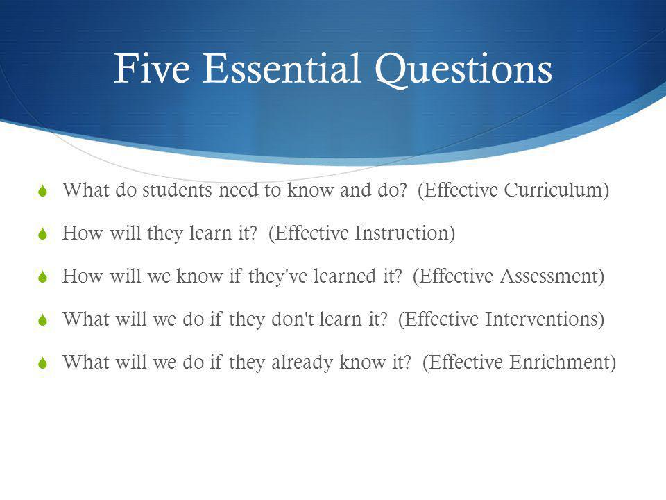 Five Essential Questions
