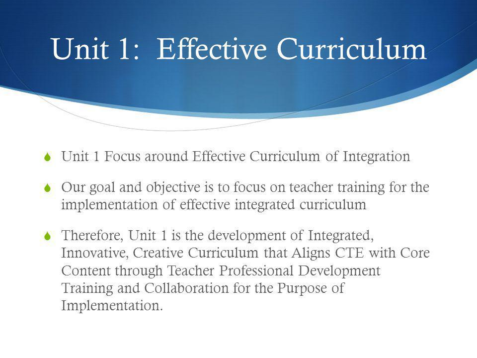 Unit 1: Effective Curriculum