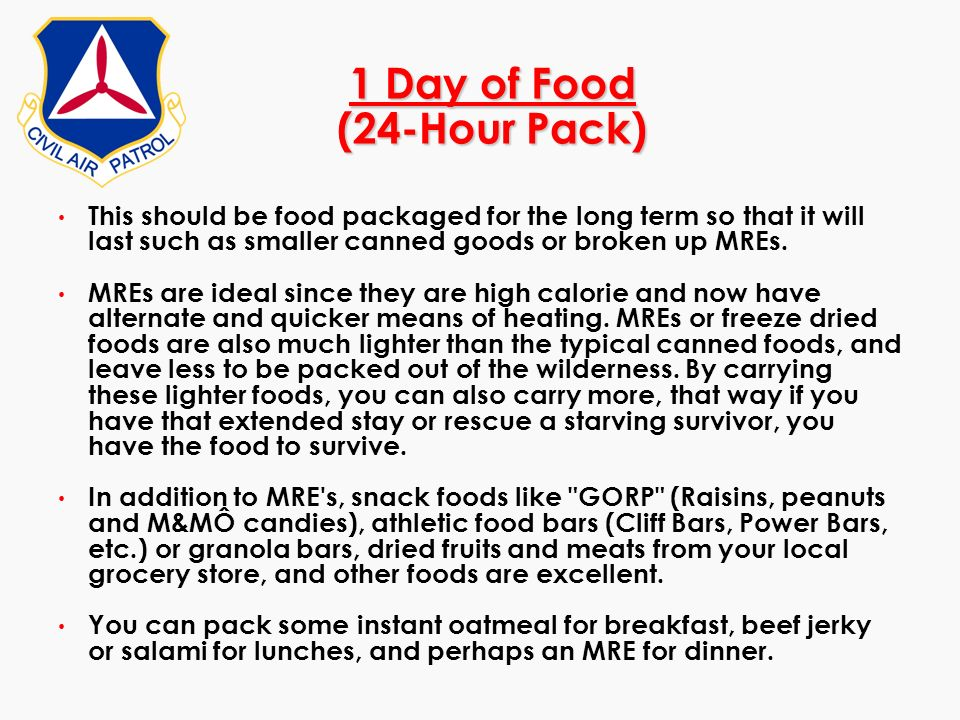 1 Day of Food (24-Hour Pack)