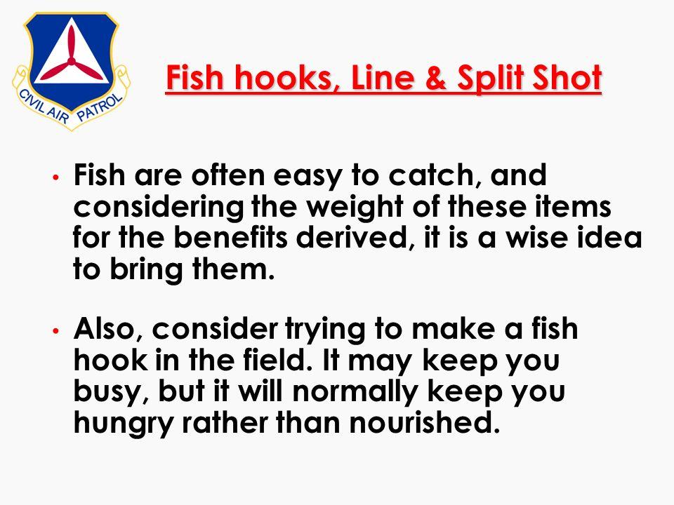 Fish hooks, Line & Split Shot