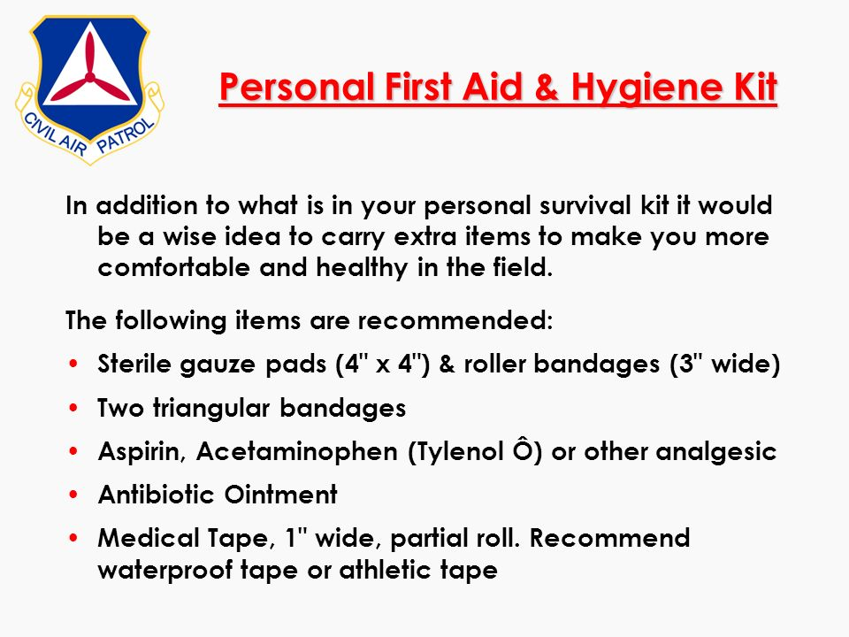Personal First Aid & Hygiene Kit