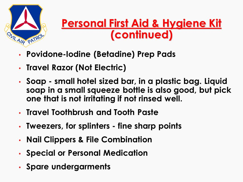Personal First Aid & Hygiene Kit (continued)