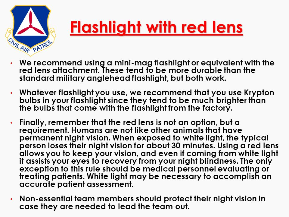 Flashlight with red lens
