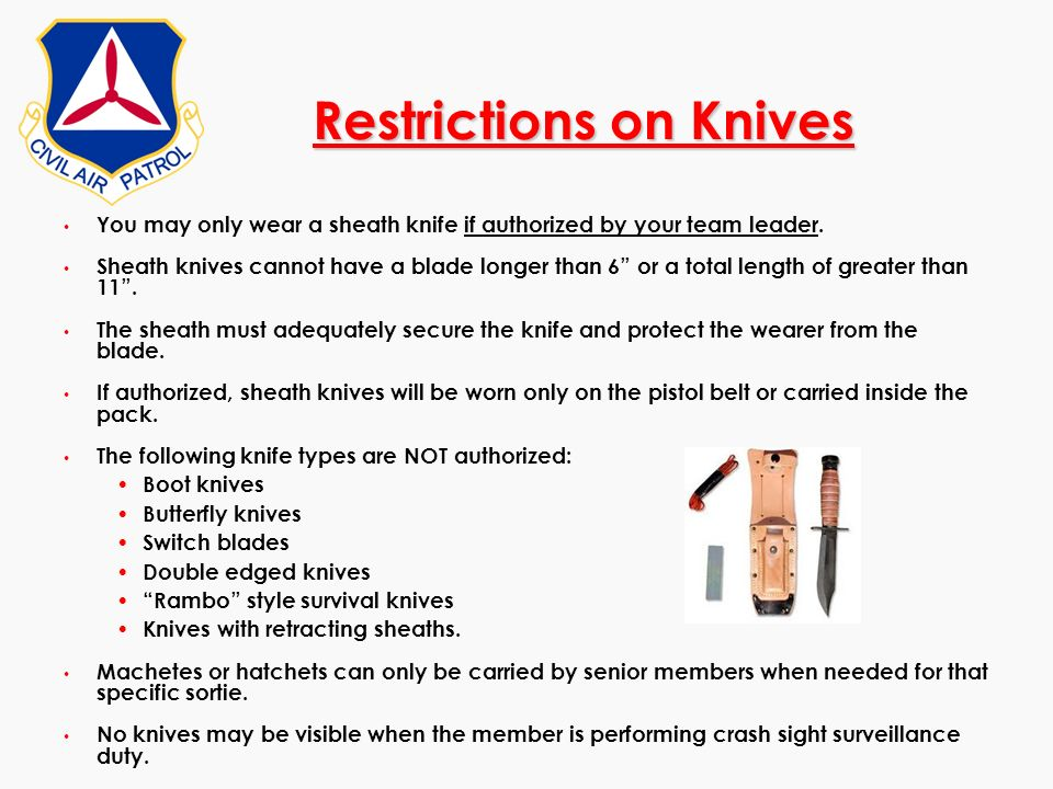 Restrictions on Knives