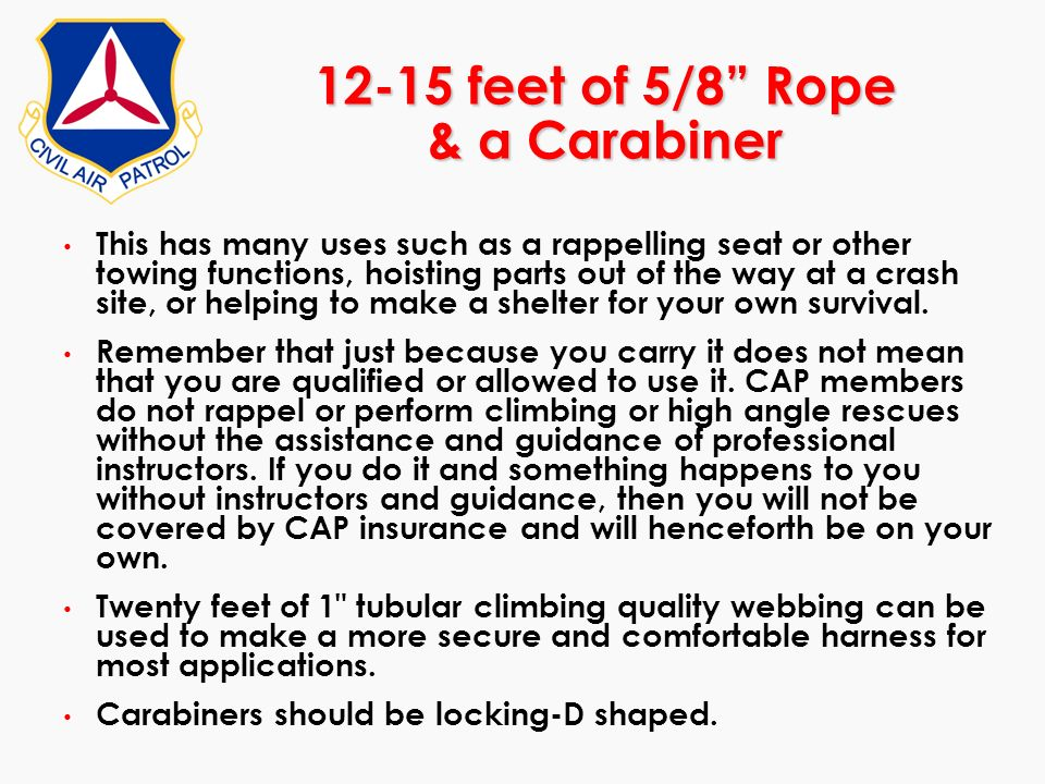 12-15 feet of 5/8 Rope & a Carabiner